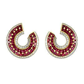 18K Yellow Gold Ruby & Diamond Wrap Earrings