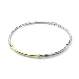 David Yurman 925 Sterling Silver and 14K Yellow Gold Metro Necklace