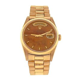 Rolex President Day-Date 18238 18K Yellow Gold Automatic Exotic Wood 36mm Mens Watch