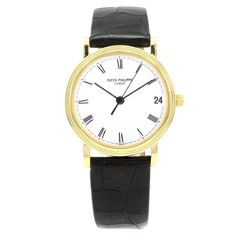 Patek Philippe Calatrava 18K Yellow Gold / Leather 33mm Mens Watch