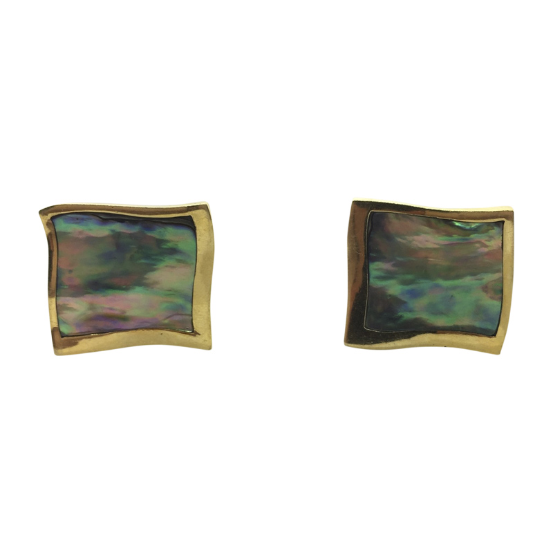 "Image of ""Angela Cummings 18K Yellow Gold with Abalone Shell Omega Clip Earrings"""