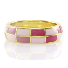 Hidalgo 18K Yellow Gold & Checkerboard Enamel Stackable Eternity Band Ring Size 6