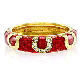 Hidalgo 18K Yellow Gold Red Enamel & Diamond with Horseshoes Eternity Band Ring Size 6.25