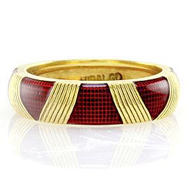Hidalgo 18K Yellow Gold & Red Enamel Eternity Band Ring Size 6.25