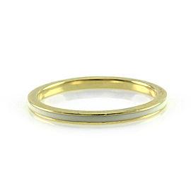 Hidalgo 18K Yellow Gold & White Enamel Stackable Eternity Band Ring Size 6.5