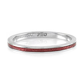 Hidalgo 18K White Gold & Pink Enamel Stackable Eternity Band Ring Size 6.25