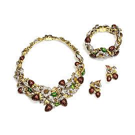 18k Yellow and White Gold Diamond Sapphire Enamel Necklace Bracelet Earring Set