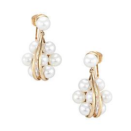 Mikimoto 14K Yellow Gold Pearl Cluster Drop Earrings