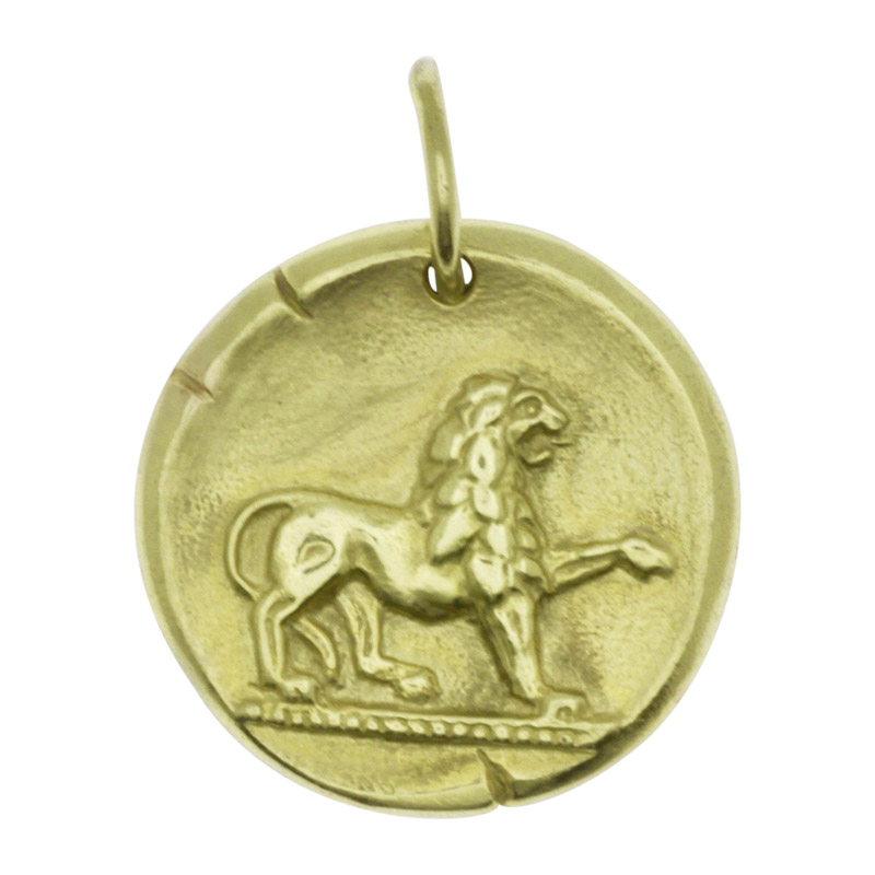 "Image of ""Vintage Van Cleef & Arpels 18K Yellow Gold Libra Leo Single Coin Charm"""