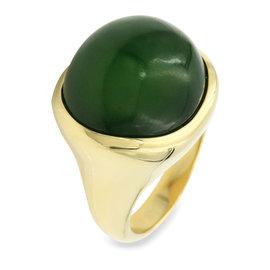 Tiffany & Co. Elsa Peretti 18K Yellow Gold and Jade Ring Size 8