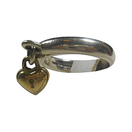 Vintage Tiffany & Co. 18K Yellow Gold & Sterling Silver Dangling Heart Padlock Ring Size 4.5