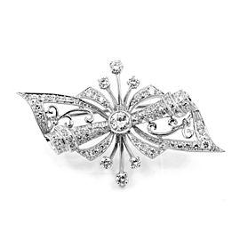 Vintage 850 Platinum 1.67ctw. Diamond Bow Brooch