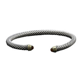 David Yurman Cable Classics 14K Yellow Gold and 925 Sterling Silver Cuff with Citrine Bracelet