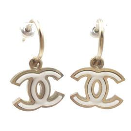 Chanel Gold Tone & Enamel CC White Pop Up Piercing Earrings