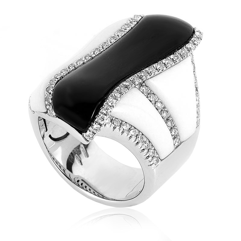"Image of ""Oro Trend 18K White Gold Black & White Onyx Diamond Ring Size 6.75"""