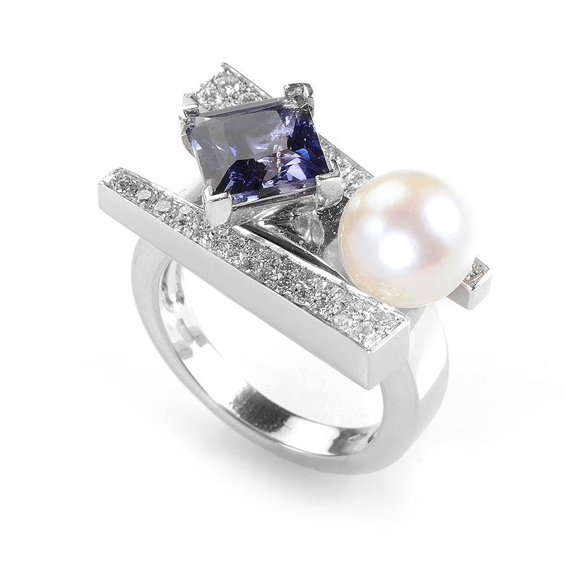 "Image of ""Koesia 18K White Gold Iolite, Diamond and Pearl Ring Size 7.25"""