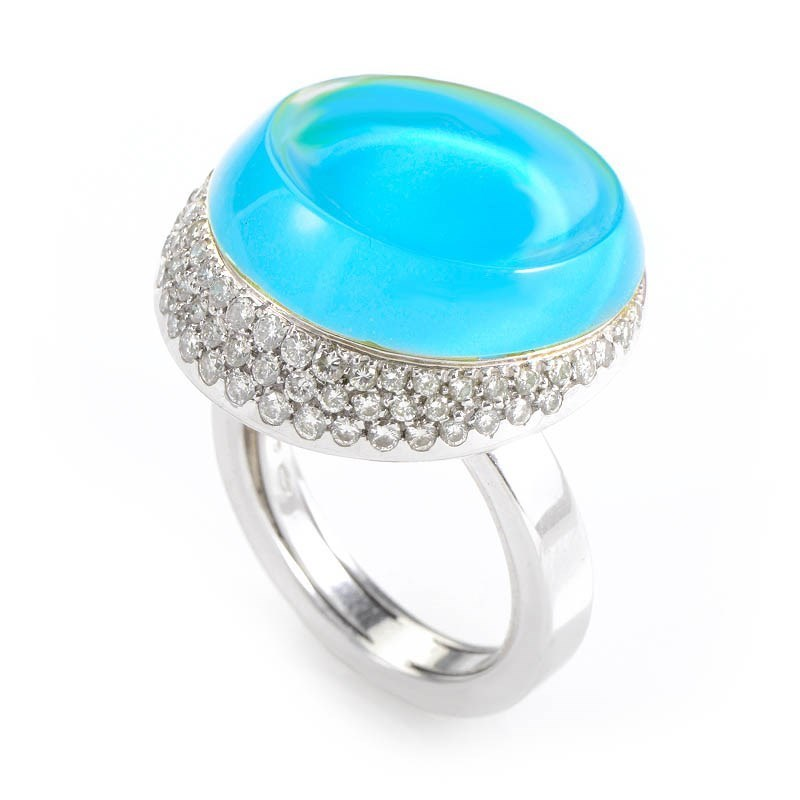 "Image of ""Roberta Porrati 18K White Gold Topaz & Diamond Ring Size 7.25"""