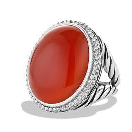 David Yurman Sterling Silver Carnelian and Diamond Ring Size 7