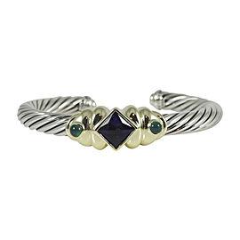David Yurman Sterling Silver & 14K Yellow Gold Amethyst & Green Onyx On-Point Renaissance Bracelet