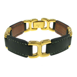Hermes Leather and Gold Tone Metal Bracelet