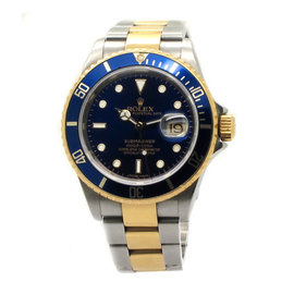 Rolex Submariner 16613 18k and SS Blue Dial Mens Watch
