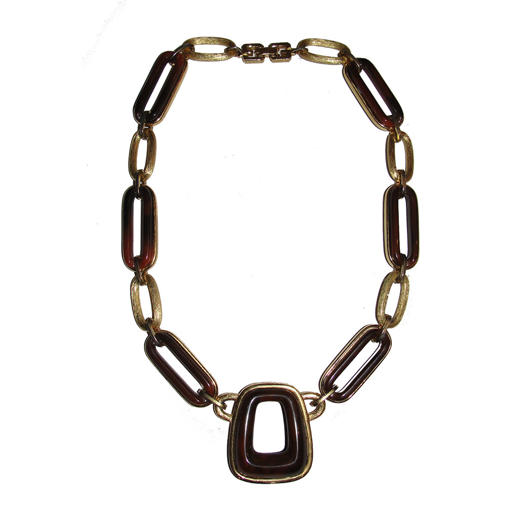 "Image of ""Givenchy Gold Plated Style Brown Swirl Bakelite Necklace"""