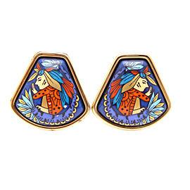 Hermes Enamel And Gold Metal Earring