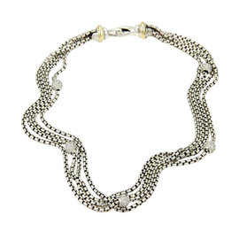 David Yurman 925 Silver 18K Y/Gold & Diamond Multi-Strand Necklace