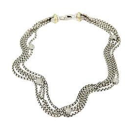 David Yurman 925 Silver 18K Y/Gold & Diamond Multi-Strand Necklace