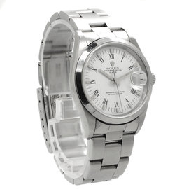 Rolex Stainless Steel Oyster Perpetual Date White Roman Dial Mens Watch