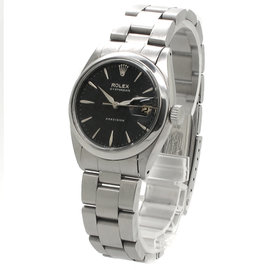Rolex Oyster Date Precision Stainless Steel Black Dial Womens Watch