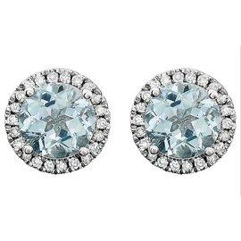 14K White Gold With 1.70ct Aquamarine & Diamond Halo Earrings
