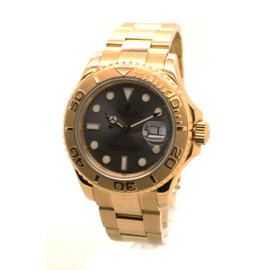 Rolex Yachtmaster 18K Yellow Gold Slate Grey Dial 40mm 16628B Mens Watch