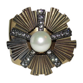Lanvin 18K Gold Plated Pearl Rhinestone Cuff Bracelet
