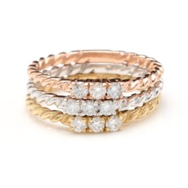14K Trinity Gold 0.45ct Diamond Set of Three Stackable Rings Size 6.5