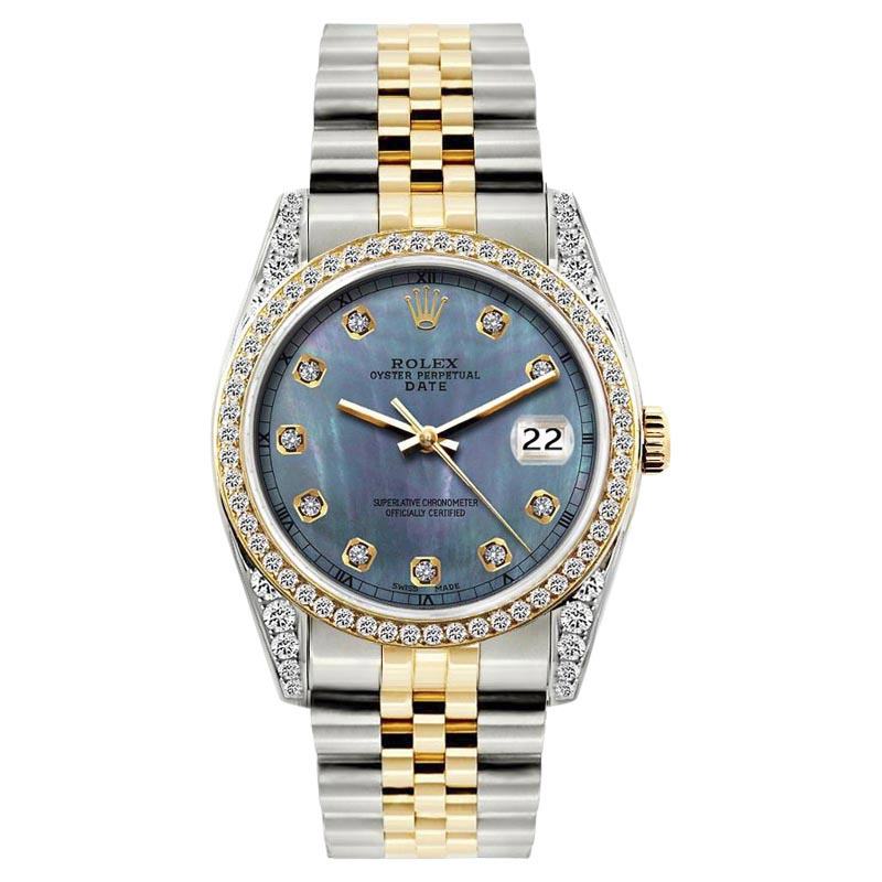 """Image of """"Rolex Date Blue Mother of Pearl Dial Stainless Steel & Yellow Gold"""""""