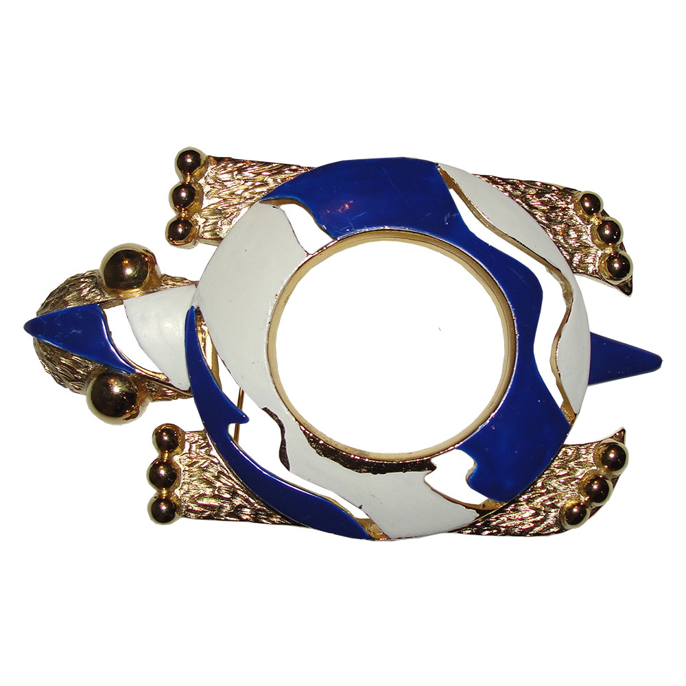 "Image of ""Pierre Cardin White & Blue Enamel Over 18K Gold Plated Turtle Pin"""