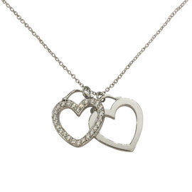 Tiffany & Co. 18K White Gold and Diamond Double Heart Necklace