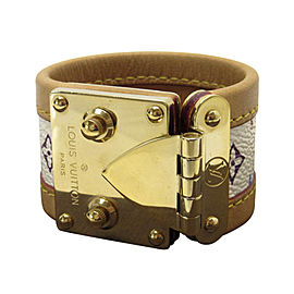 Louis Vuitton Gold Tone Metal Leather and Canvas Bracelet