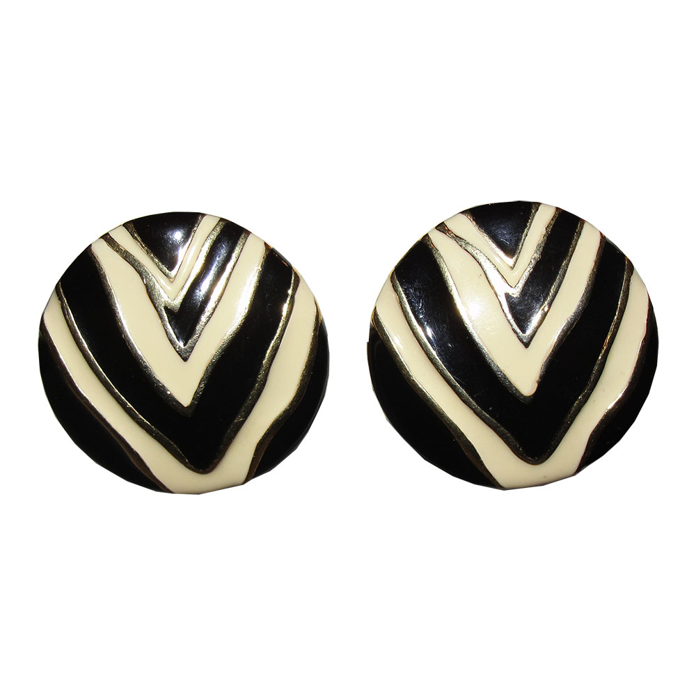 "Image of ""Givenchy 18K Gold Plated Zebra Print Enamel Disc Earrings"""