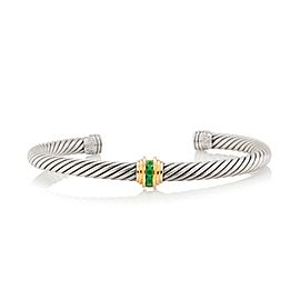 David Yurman Sterling Silver & 14K Yellow Gold Emerald Cable Classics Bracelet