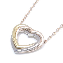 Cartier 18K Yellow and White and Pink Gold Heart Pendant Necklace