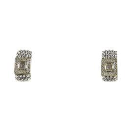 Lagos 925 Sterling Silver 18K Yellow Gold .52tcw Diamond Semi Hoop Earrings