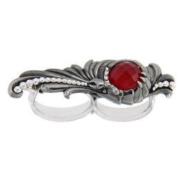 Stephen Webster 925 Sterling Silver Red Coral & Clear Quartz 2 Finger Verne Ring Size 8