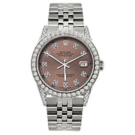 Rolex Datejust Stainless Steel & 5ct Diamond 36mm Watch