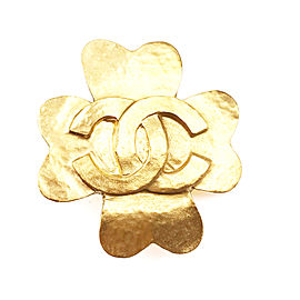 Chanel 24K Gold Plated CC Clover Brooch
