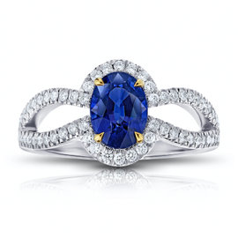 Platinum with 18K Yellow Gold 1.74ct Blue Sapphire and Diamond Ring Size 7
