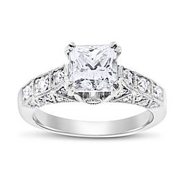 18k White Gold 2.46ct. Diamond Princess Cut Engagement Ring Size 6.5