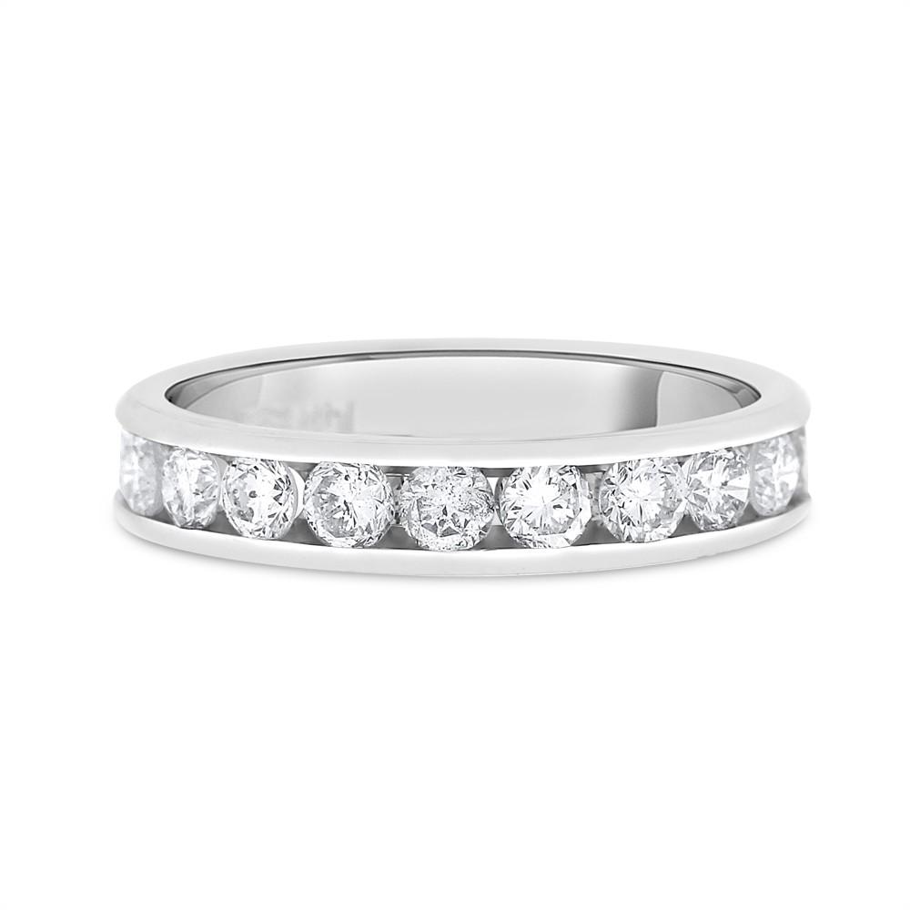 "Image of ""14k White Gold 1.00ct. Round Diamond Channel Set Wedding Band Size 7"""