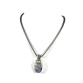 David Yurman Sterling Silver & 18K Yellow Gold Chalcedony Diamond Capri Pendant Necklace